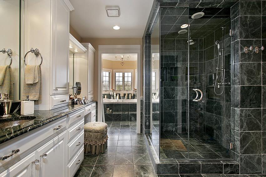 luxury black white bathroom large rainfall shower