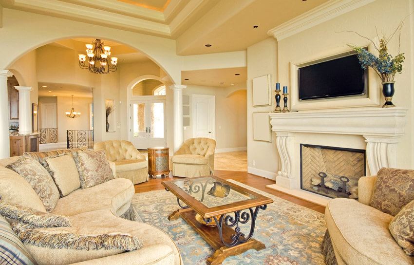 Luxury Living Room With Arched Wall White Fireplace