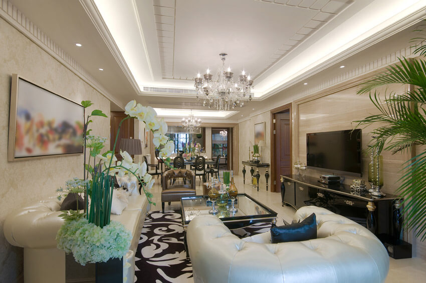 Luxury Living Room With White Furnishings