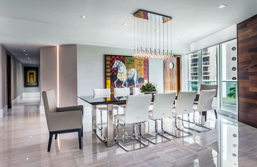 luxury modern dining roll with porcelain tile floors and multiple pendant light fixture