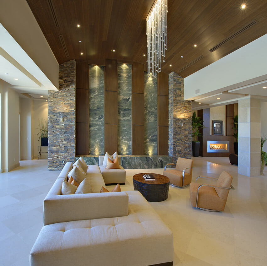 Massive Living Room In Luxury Home With High Ceilings