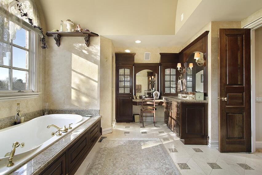 Master bath dark wood design cabinets