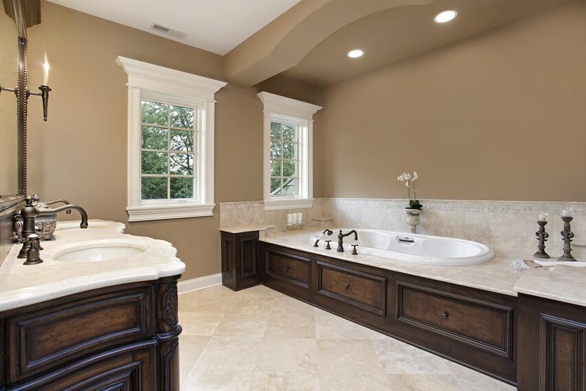 Master bath elegant dark wood trim finish