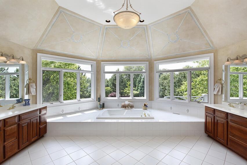 Master bath panoramic garden view
