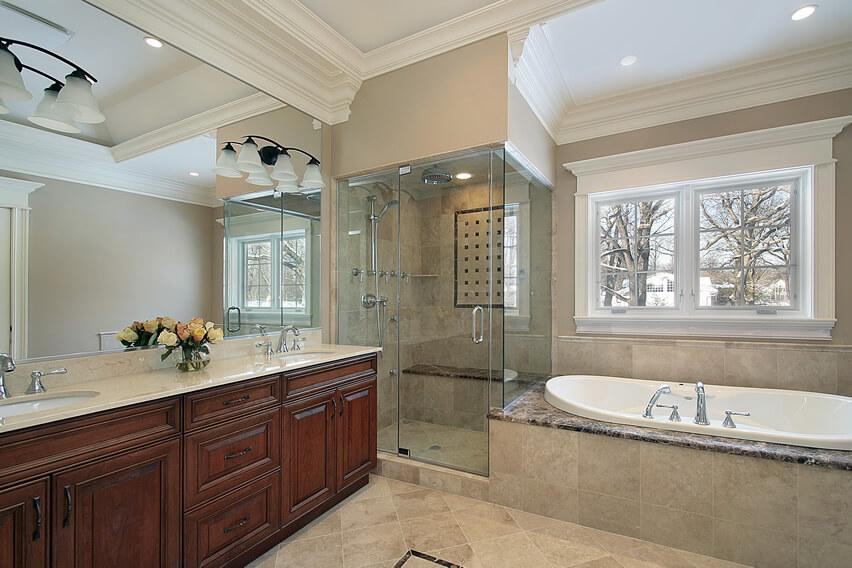 Master bath sconce lighting glass shower