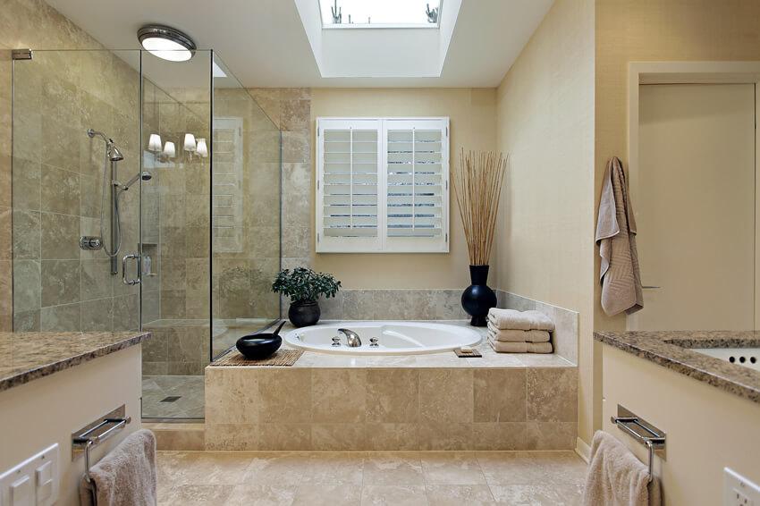 Master bath skylight granite counter tops