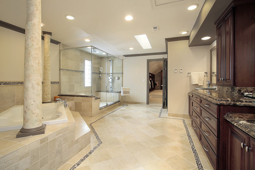 Master bath tub columns large glass shower enclosure