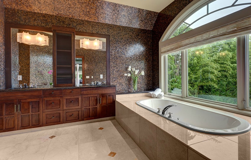 master bath with brown mosaic tile