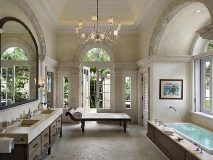 master bath with concrete floors