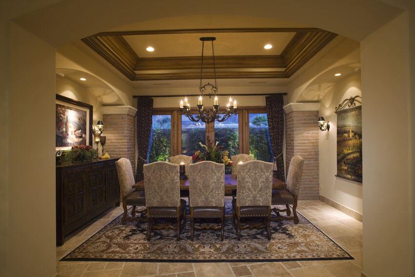 mediterranean style formal dining room