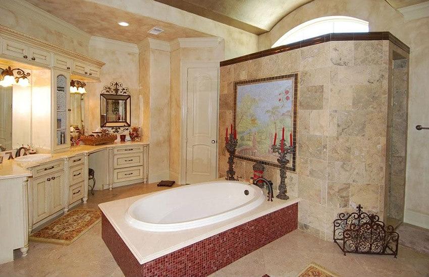 mediterranean style master bath retreat