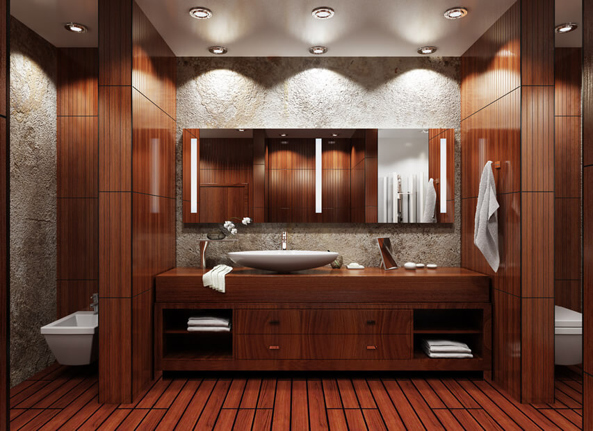 Modern bath pedestal sink wood planking stone walls