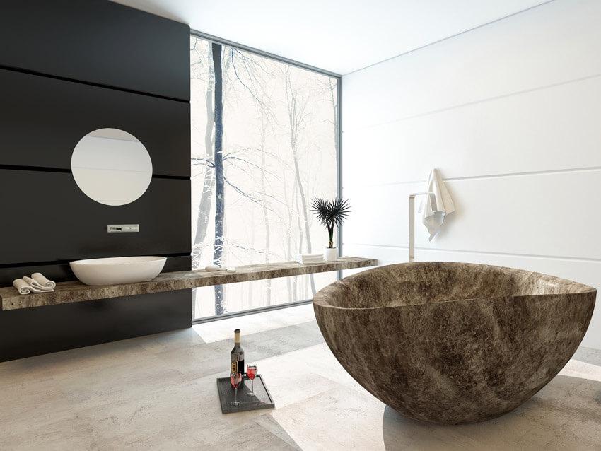 modern bathroom design with unique bathtub
