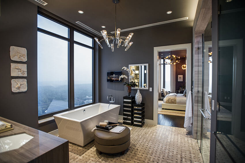 modern bathroom suite with impressive view