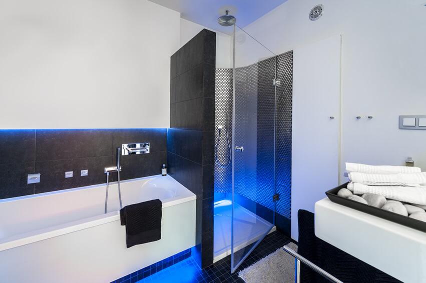 Modern Black White Bathroom Neon Blue Lights
