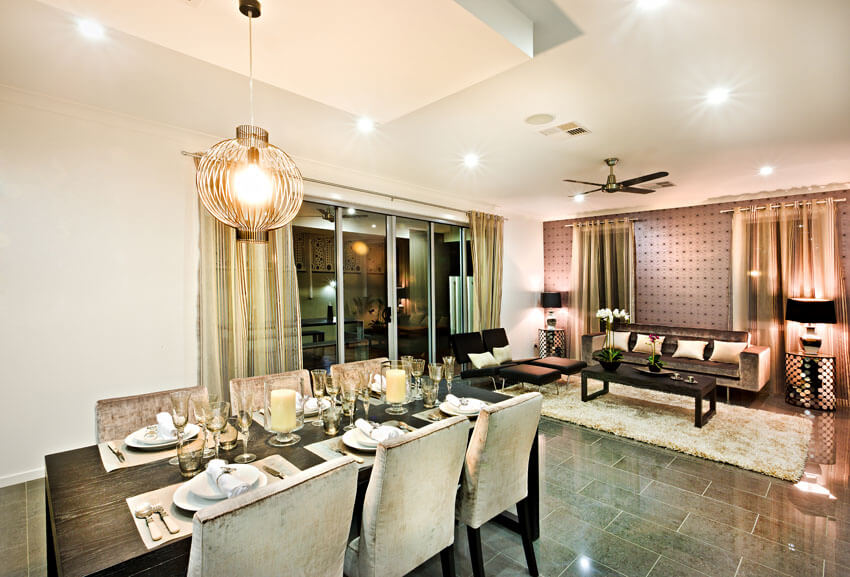 modern dining room next to living room