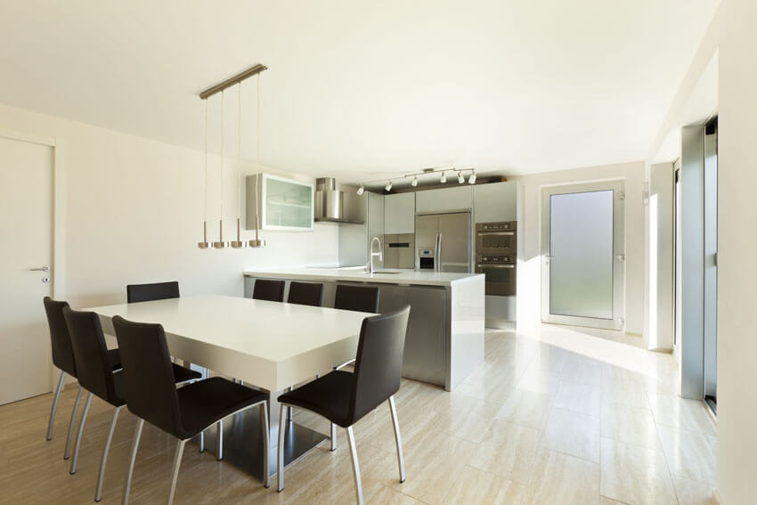 modern dining table in open kitchen