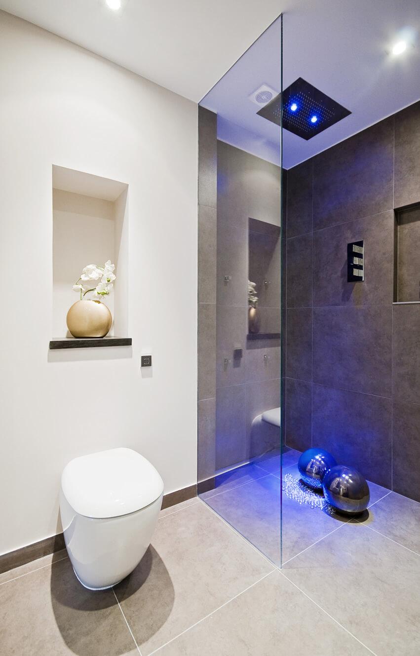 Modern luxury bath rainfall shower blue neon light