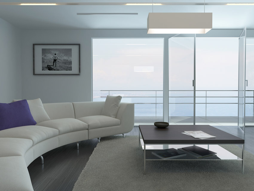 Modern Oceanview Living Room With Minimal Decor