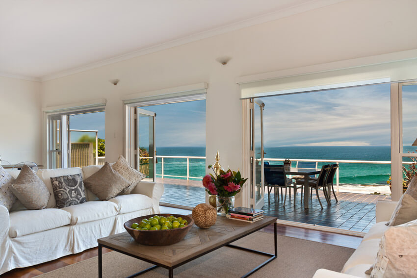 Oceanfront Living Room With View Of Water