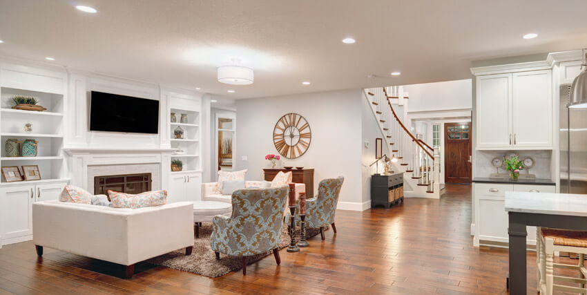 Open Plan Living Room With White Theme