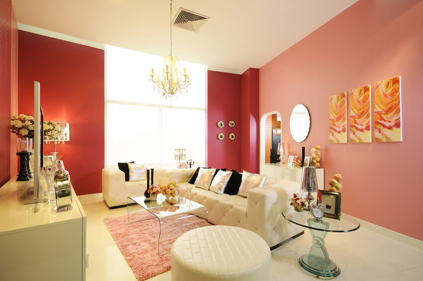 Pink And Red Design Living Room