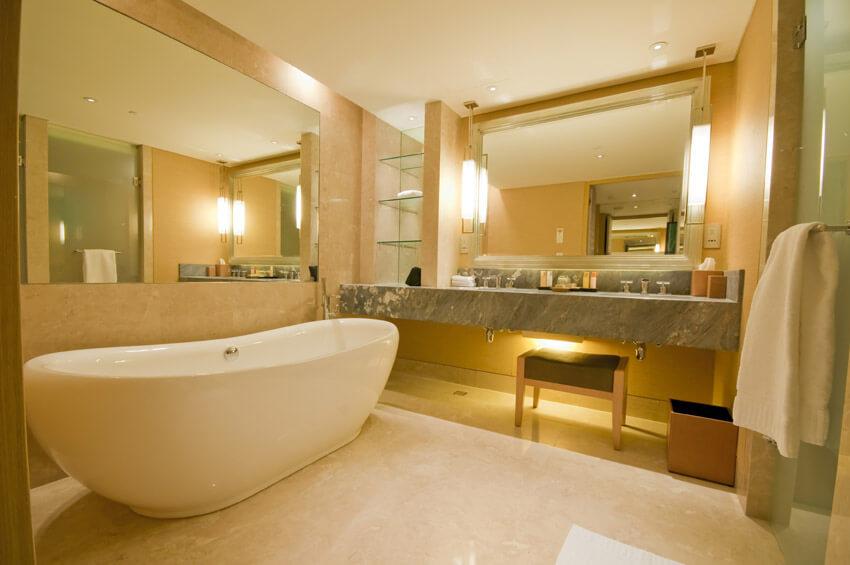 pretty bathroom with soaking tub