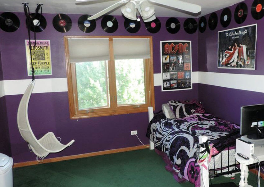 Purple Kids Bedroom with White Semi Circle Swinging Chair