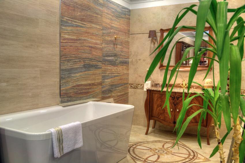 Rectangular angled bath luxury bathroom