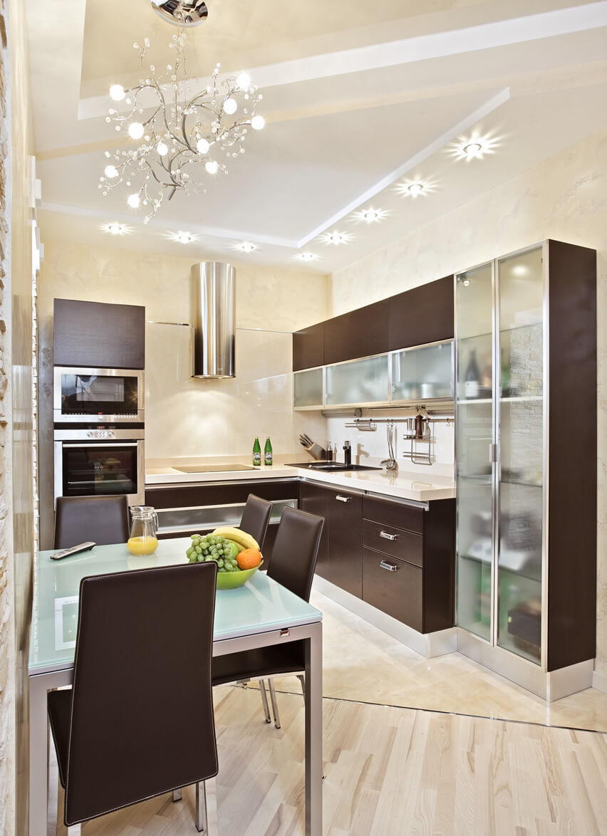 Small Kitchen Modern Style Glass Wood Cabinets