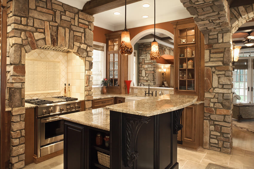 small kitchen stone granite island