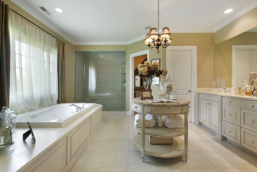 Upscale bath retreat with round center vanity