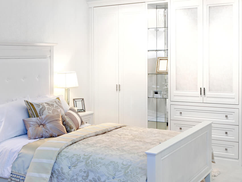 White Bedroom Wardrobe with Glass Shelves
