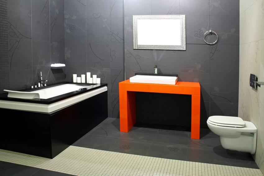 White Black Bathroom Red Sink Cabinet