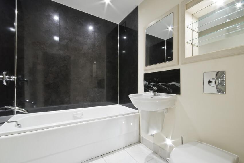 White Black Themed Bathroom Tiles