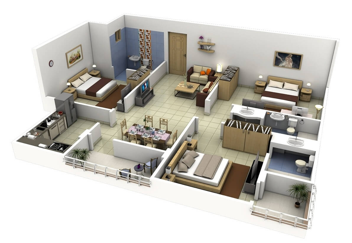 20 Plans for 3-Room Apartments with Modern 3D Designs -
