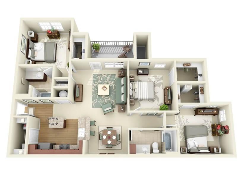 3 bedroom modern apartment plan