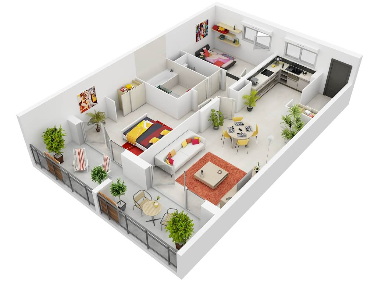 3D apartment plan with elongated shape