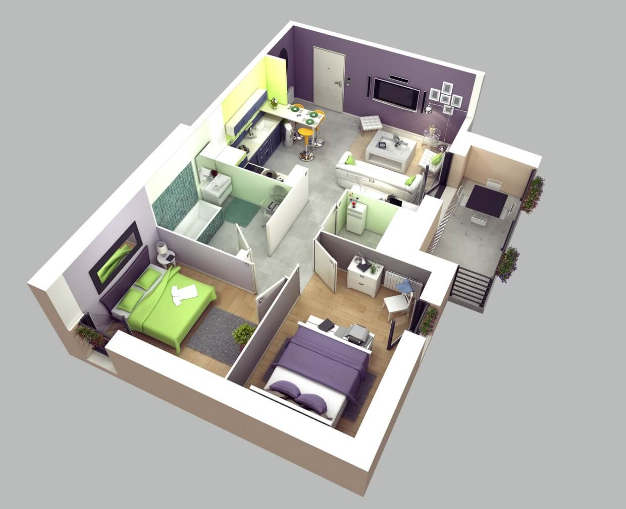 3D apartment plan with green and violet interior design