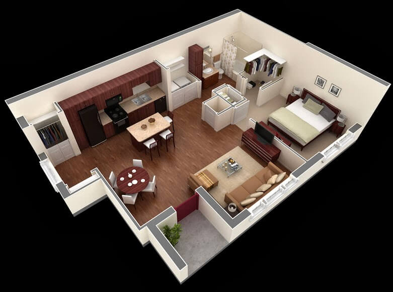 3d shot of small apartment