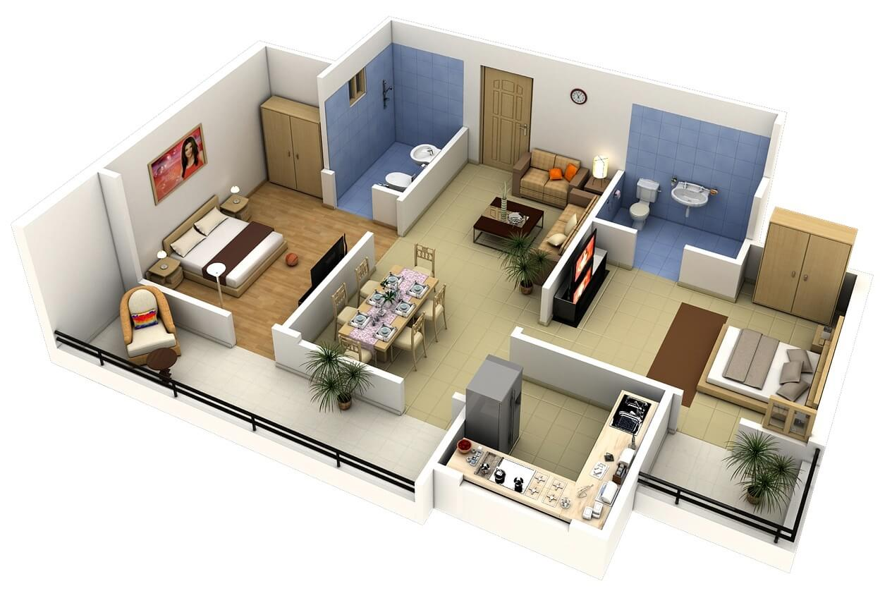 Apartment plan in 3D with closed kitchen and bedrooms