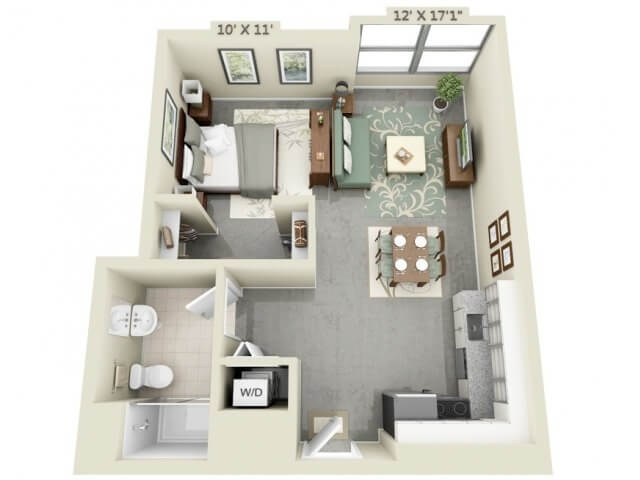 Apartment plan of a bedroom and kitchen