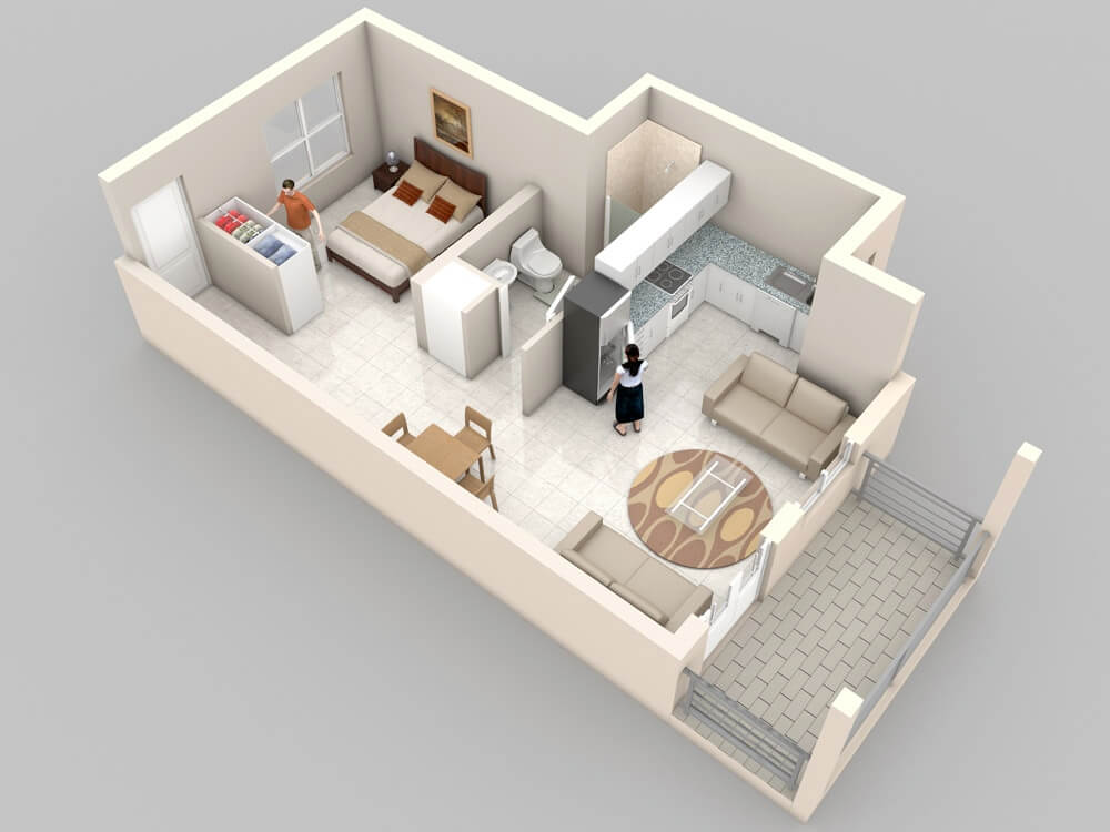 Apartment plan very small one bedroom decor