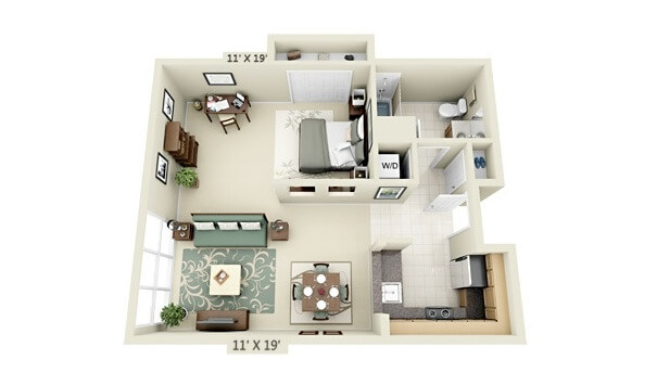 Apartment plan with a bedroom