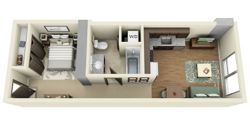 Apartment plan with elongated bedroom