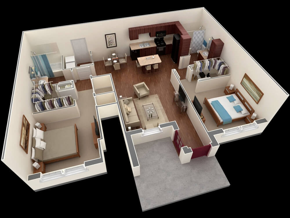 Apartment plan with living room, dining room, kitchen and 2 bedrooms