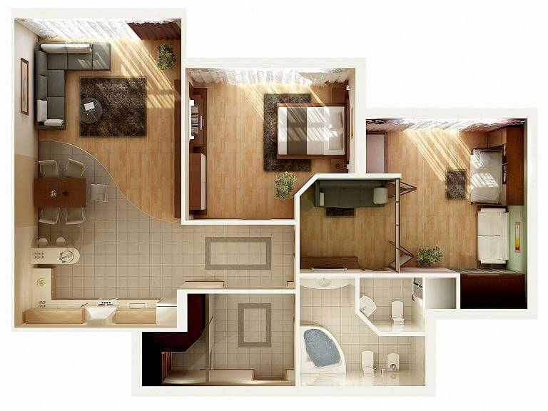 Apartment plan with two bathrooms and tile floor
