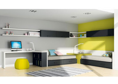 Design and decoration for bedroom interiors in green and black