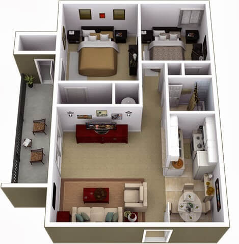 Design and layout of two bedroom apartment