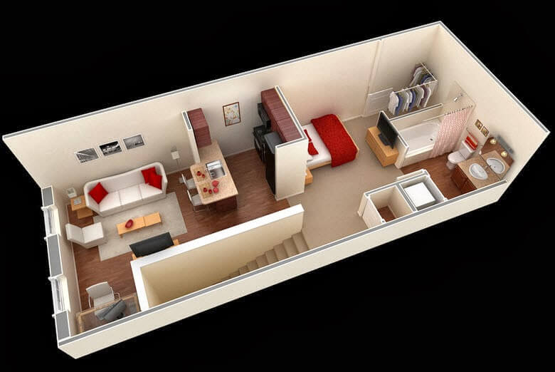 Design of an elongated mini apartment
